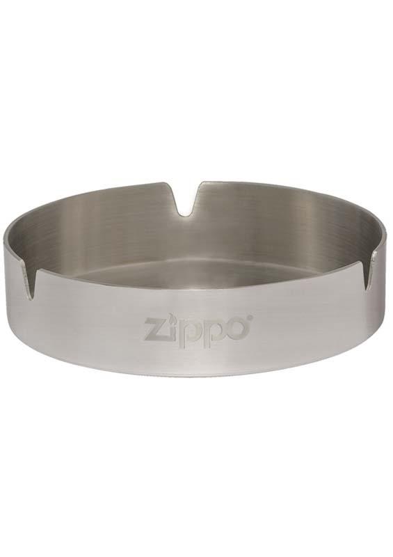 Пепельница ZIPPO, нержавеющая сталь, серебристая с фирменным логотипом, матовая, диаметр 10 см