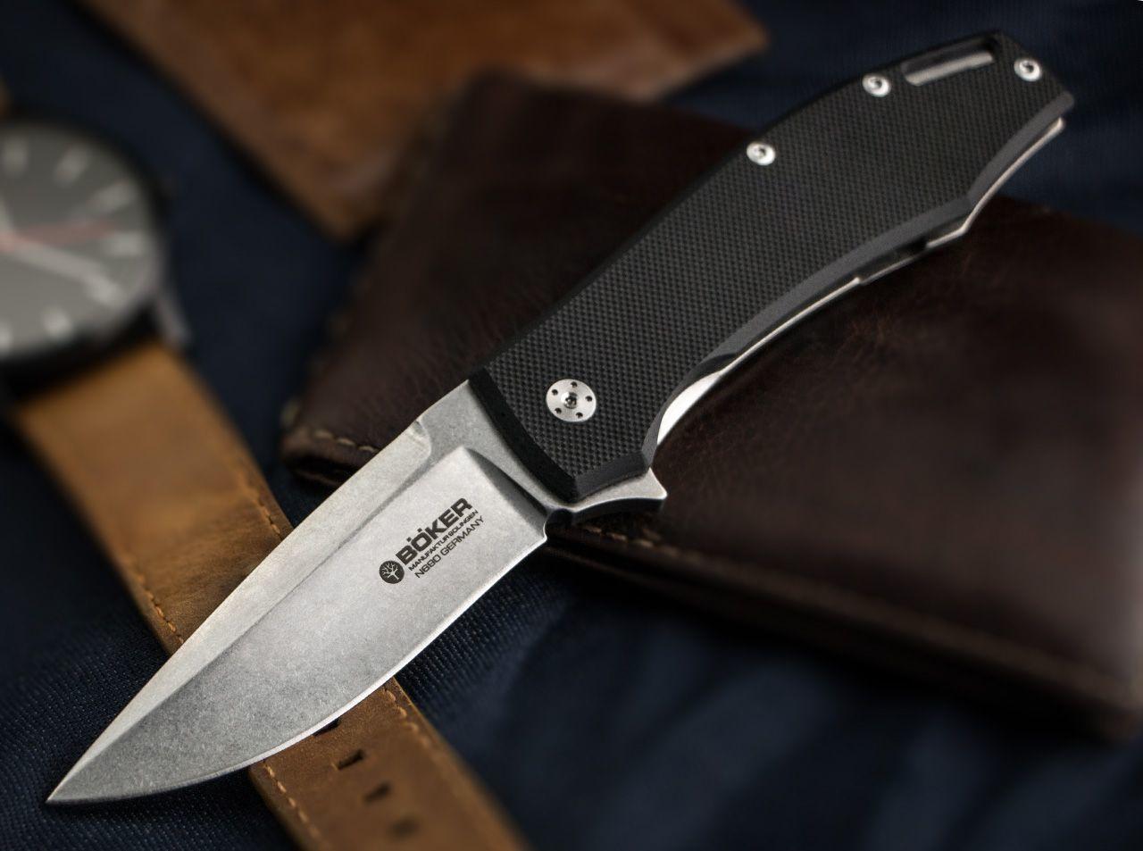 Фото 9 - Нож складной KMP22 - Boker 110658, сталь Bhler N690 Stonewashed Plain, рукоять стеклотекстолит G10/нержавеющая сталь, черный