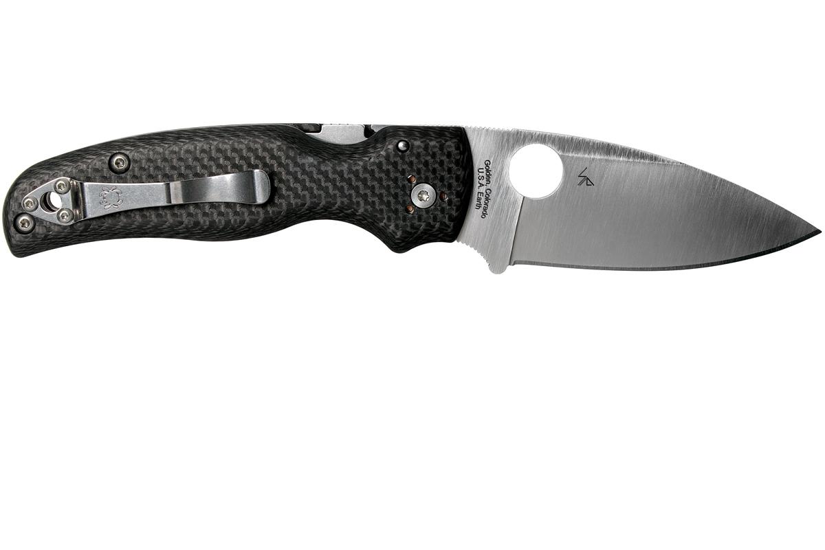 Фото 9 - Складной нож Spyderco SHAMAN Sprint Run C229CFP, сталь CPM S90V Satin Plain, рукоять карбон, чёрный