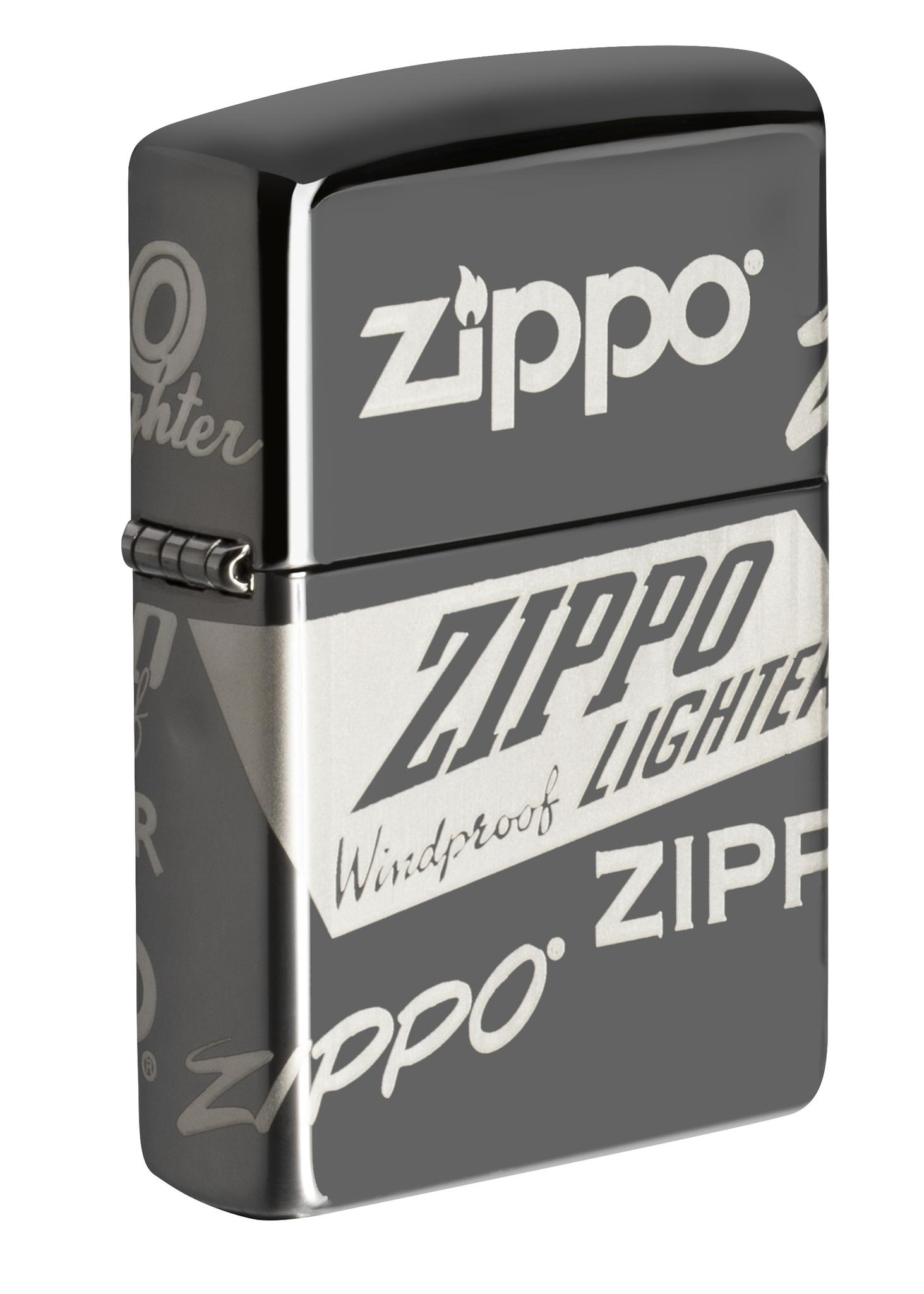 Зажигалка ZIPPO Classic Logo Design с покрытием Black Ice®, латунь/сталь, чёрная, глянцевая, 36х12х56 мм