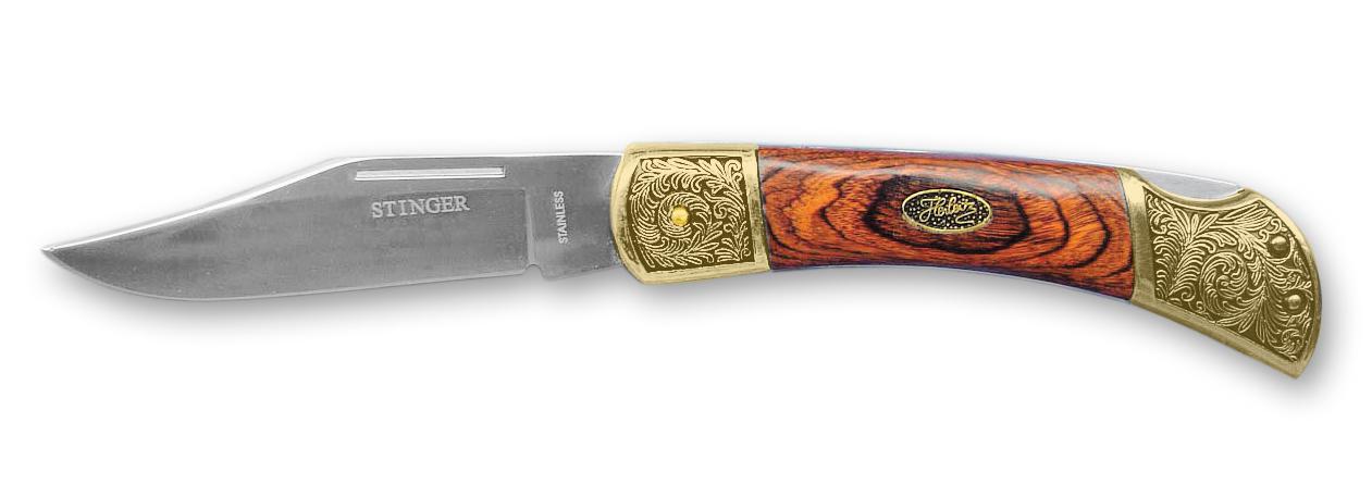 Нож складной Stinger, 100 мм, рукоять: сталь/дерево (золотисто-коричневый), коробка дерево