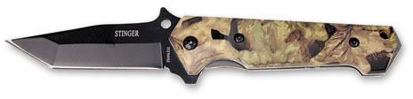 Нож складной Stinger, 90 мм (черный), рукоять: сталь/пластик (камуфляж), коробка картон