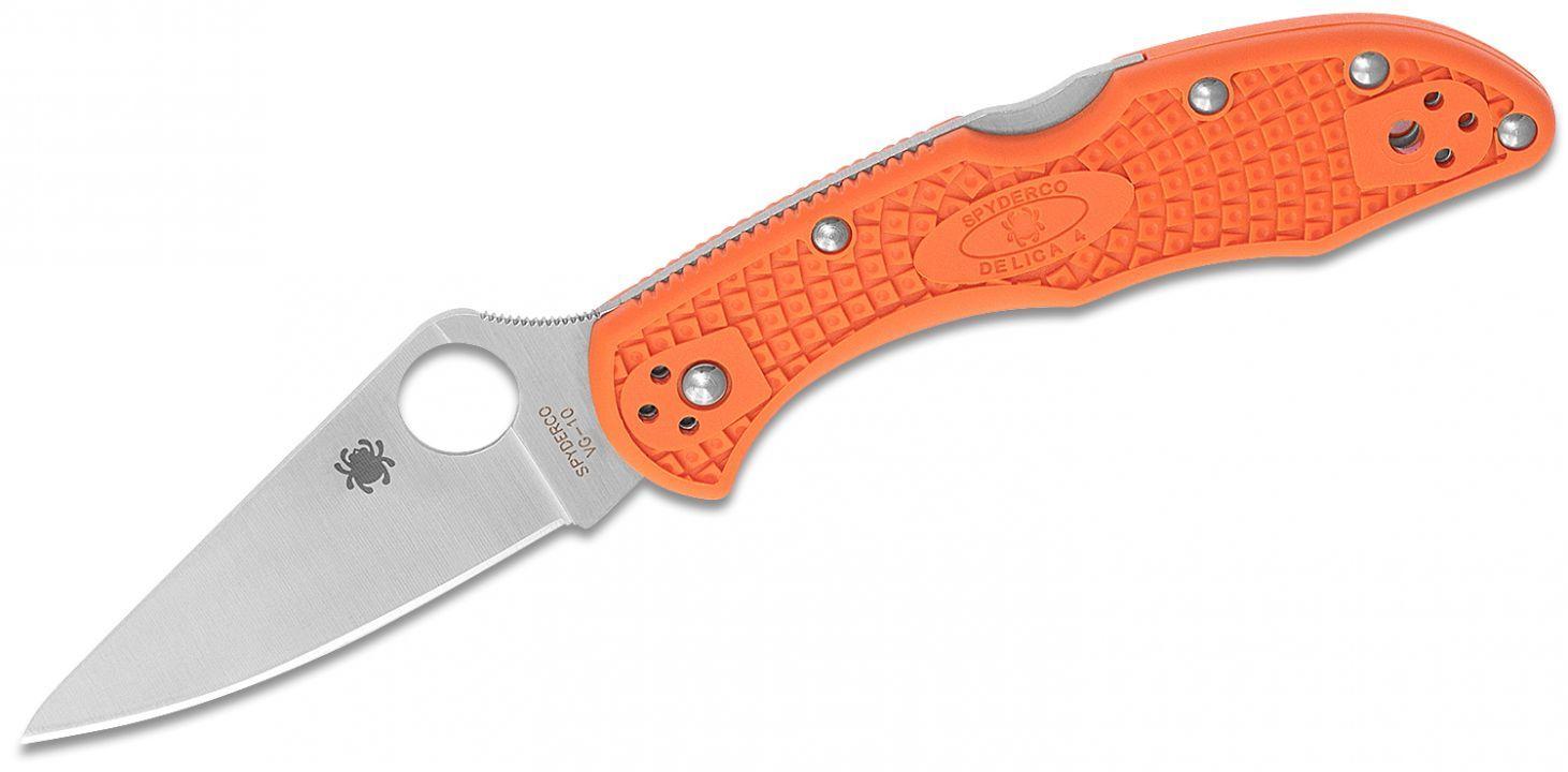 Фото 14 - Складной нож Delica 4 Flat Ground - Spyderco 11FPOR, сталь VG-10 Satin Plain, рукоять термопластик FRN оранжевый