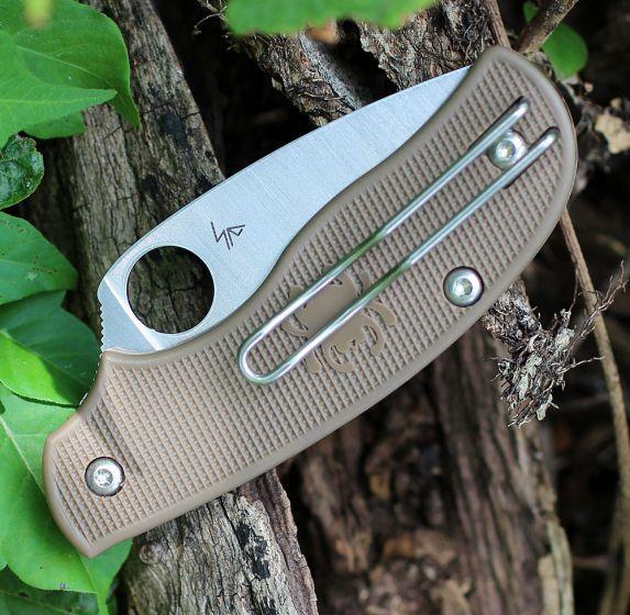 Фото 4 - Складной нож Spyderco Urban SPRINT RUN C127PBN, сталь AEB-L Satin Plain, рукоять пластик FRN, коричневый