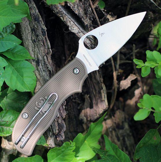 Фото 5 - Складной нож Spyderco Urban SPRINT RUN C127PBN, сталь AEB-L Satin Plain, рукоять пластик FRN, коричневый