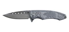 Нож складной Stinger, 85 мм (серебристый), рукоять: сталь/алюмин. (серебр.), с клипом, короб. картон