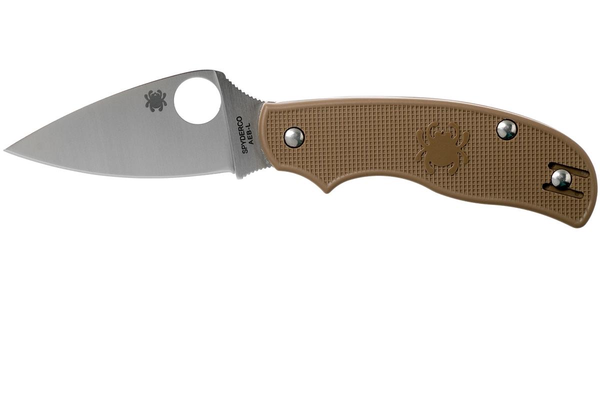 Фото 6 - Складной нож Spyderco Urban SPRINT RUN C127PBN, сталь AEB-L Satin Plain, рукоять пластик FRN, коричневый