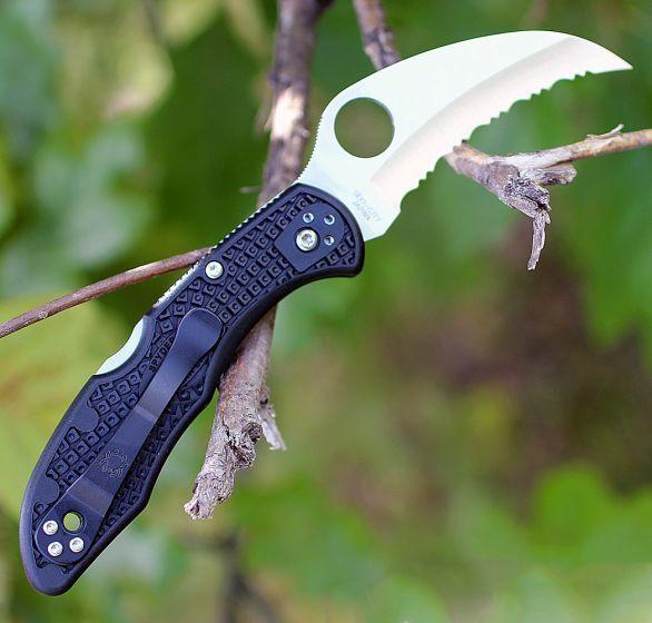 Фото 4 - Складной нож Tasman Salt 2 - Spyderco 106SBK2, сталь H1 Satin Serrated, рукоять термопластик FRN, чёрный