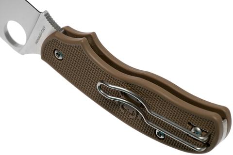 Складной нож Spyderco Urban SPRINT RUN C127PBN, сталь AEB-L Satin Plain, рукоять пластик FRN, коричневый. Вид 10