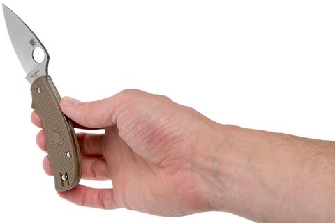 Складной нож Spyderco Urban SPRINT RUN C127PBN, сталь AEB-L Satin Plain, рукоять пластик FRN, коричневый. Вид 13