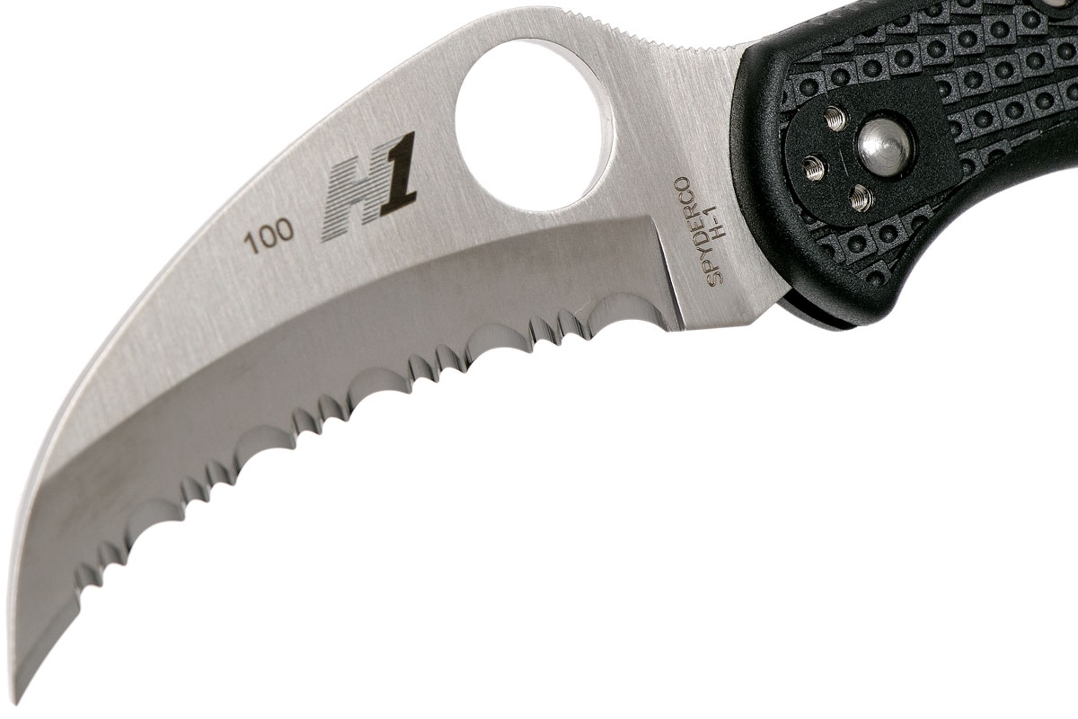 Фото 10 - Складной нож Tasman Salt 2 - Spyderco 106SBK2, сталь H1 Satin Serrated, рукоять термопластик FRN, чёрный