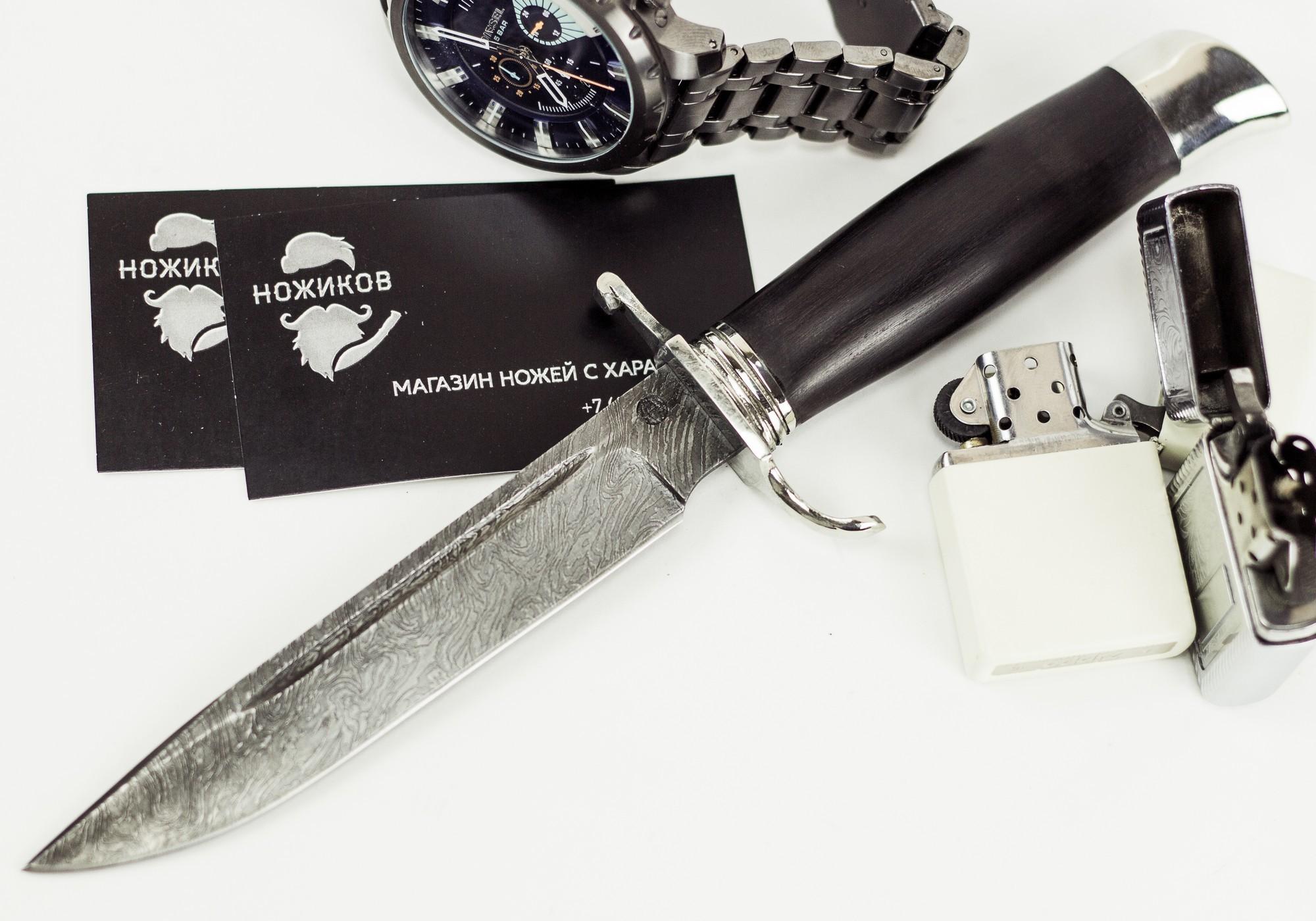 Нож Финка НКВД, дамасская сталь, мельхиор нож гид дамасская сталь