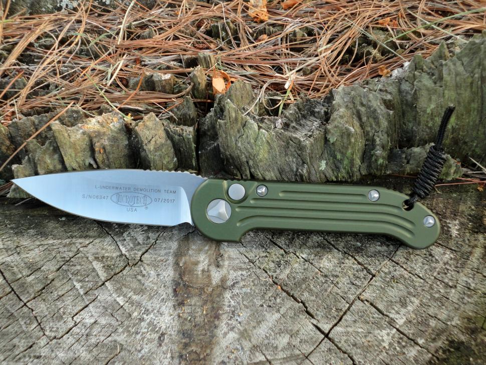 Фото 10 - Полуавтоматический складной нож Microtech Large UDT (Underwater Demolition Team) Olive Drab Green 135-4OD, сталь Elmax®, рукоять алюминий