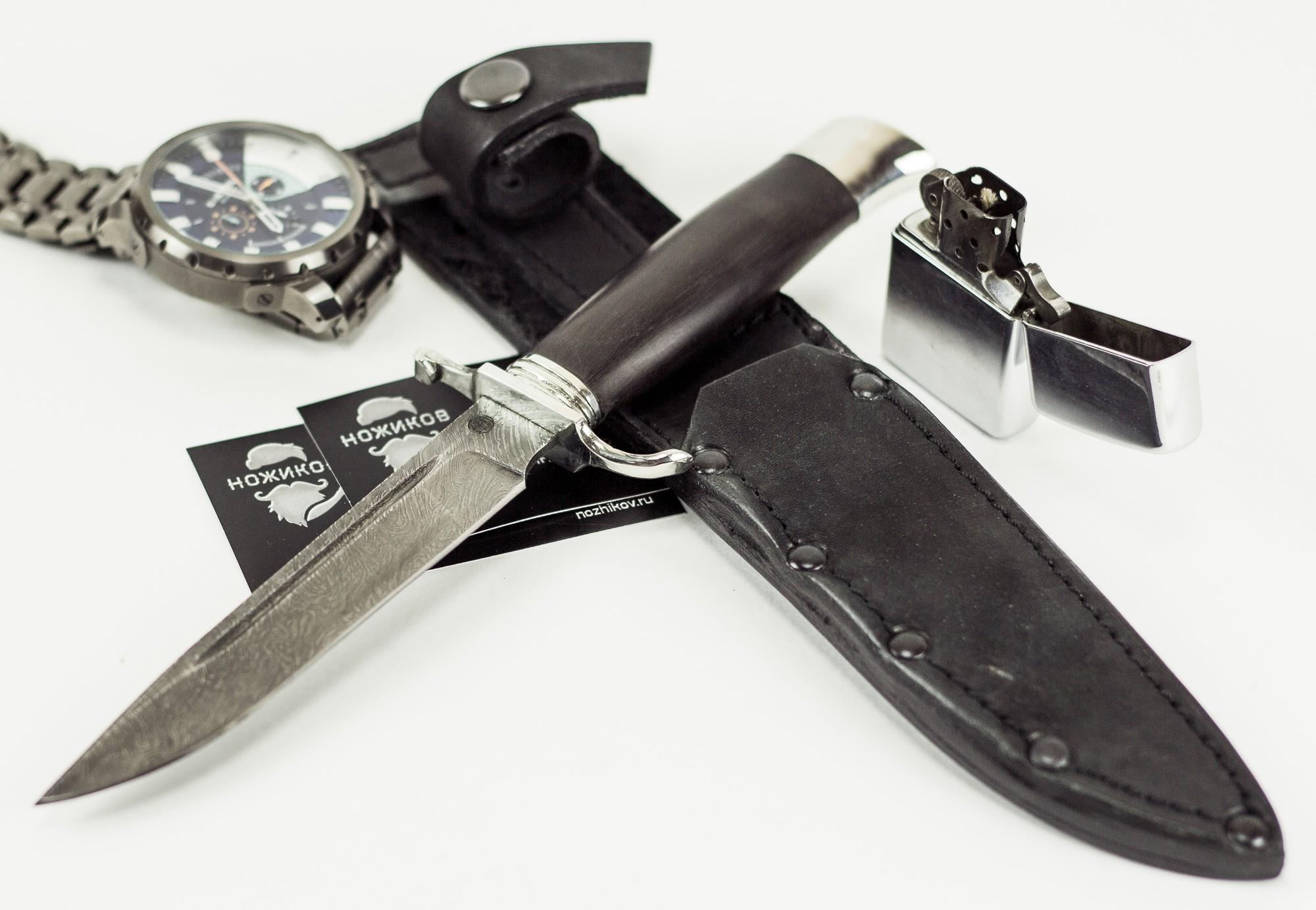Фото 8 - Нож Финка НКВД, дамасская сталь, мельхиор от АТАКА