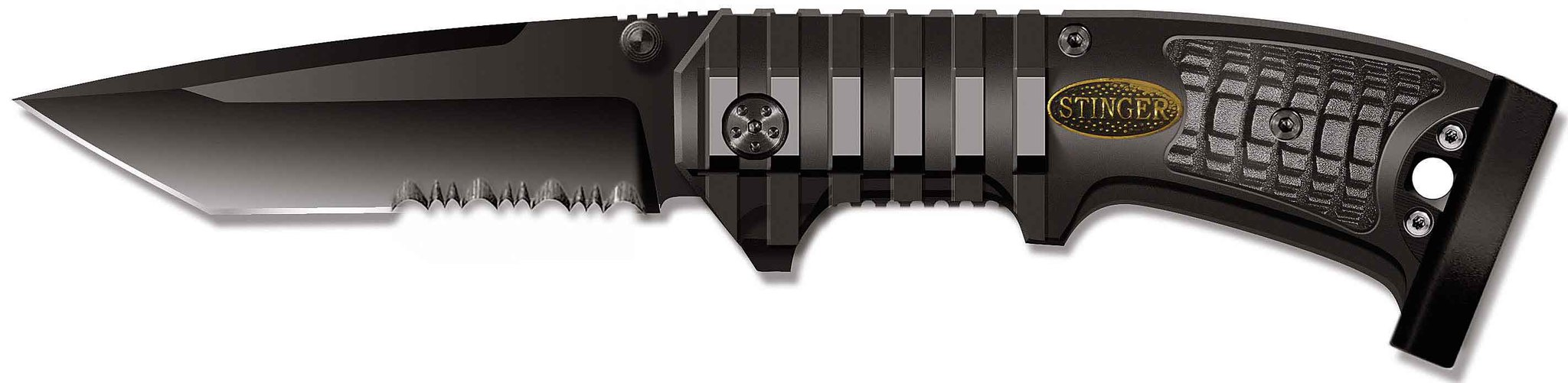 Нож складной Stinger, 90 мм (черн.), рукоять: сталь/алюмин./пласт. (черн.), с клипом, коробка картон