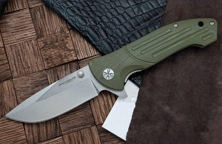Фото 3 - Нож складной Boker Magnum Brutus, сталь 440A Stonewash Plain, рукоять стеклотекстолит G10, 01MB719
