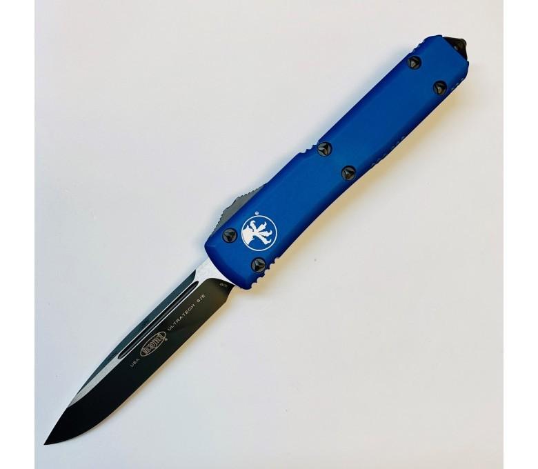 Автоматический выкидной нож Microtech Ultratech S/E, сталь CTS-204P, рукоять синий алюминий, черный клинок