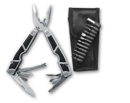 Мультитул Stinger, сталь/пластик (серебристо-черный), 10 инструментов, нейлоновый чехол, 12 насадок, коробка картон