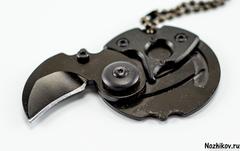 Брелок монета со скрытым ножом, черная