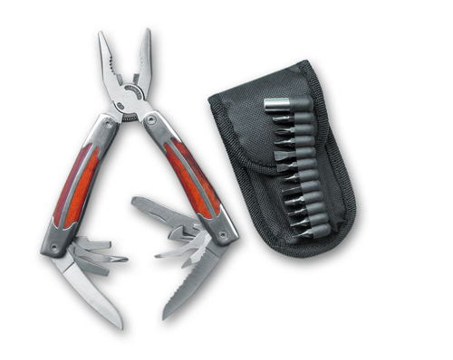 Мультитул Stinger, сталь/дерево (серебристо-коричневый), 9 инструментов, нейлон. чехол, 12 насадок, коробка картон цена