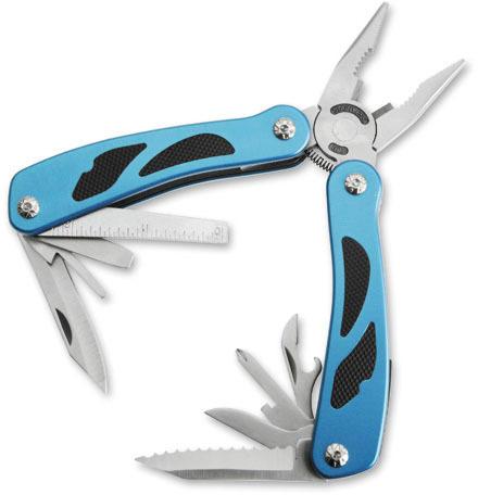 Мультитул Stinger, сталь/алюм./пластик , (серебристо-сине-черный), 9 инструментов, нейлоновый чехол, коробка картон