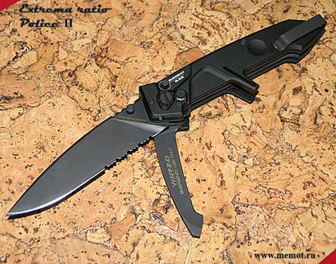 Многофункциональный складной нож с выкидным стропорезом Extrema Ratio Police II, сталь Böhler N690, рукоять алюминий. Вид 2