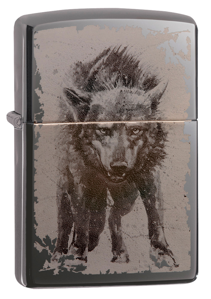 Зажигалка ZIPPO Wolf Design с покрытием Black Ice®, латунь/сталь, чёрная, глянцевая, 36х12х56 мм