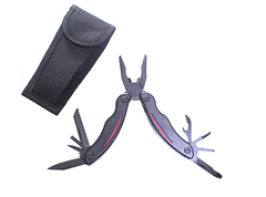 Мультитул Stinger, сталь/пластик (красно-черный), 9 инструментов, нейлоновый чехол, коробка картон