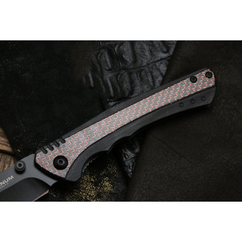 Фото 7 - Складной нож Magnum Rubico - Boker 01SC053, сталь 440A EDP, рукоять стеклотекстолит G10/карбон/нержавеющая сталь, чёрно-красный
