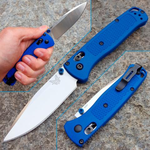 Нож складной Benchmade Bugout Blue 535, сталь S30V, рукоять пластик. Вид 14