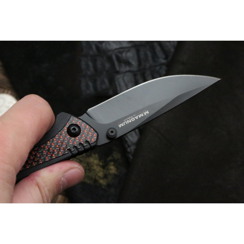 Фото 9 - Складной нож Magnum Rubico - Boker 01SC053, сталь 440A EDP, рукоять стеклотекстолит G10/карбон/нержавеющая сталь, чёрно-красный