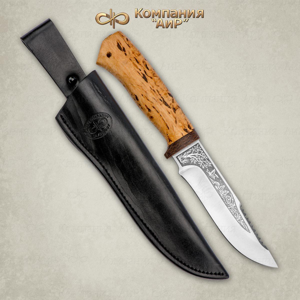 Фото - Нож АиР Стрелец, сталь Elmax, рукоять карельская береза пчак закат рукоять карельская береза
