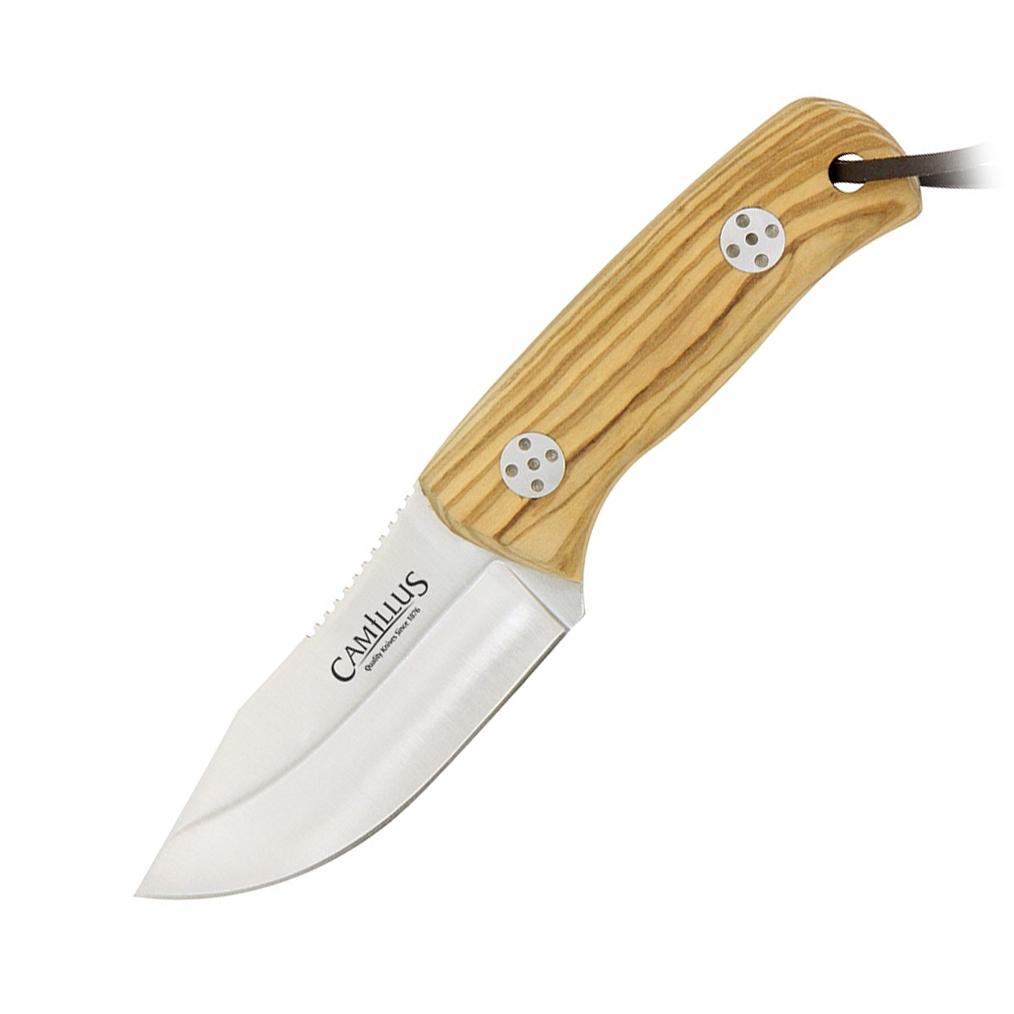 Нож с фиксированным клинком Camillus Les Stroud Valiente Brut, сталь 440А, рукоять оливковое дерево фото