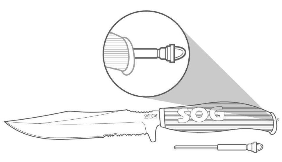 Фото 6 - Нож Aura Hunting, сталь клинка 7Cr13, рукоять пластик/резина, SOG AU02