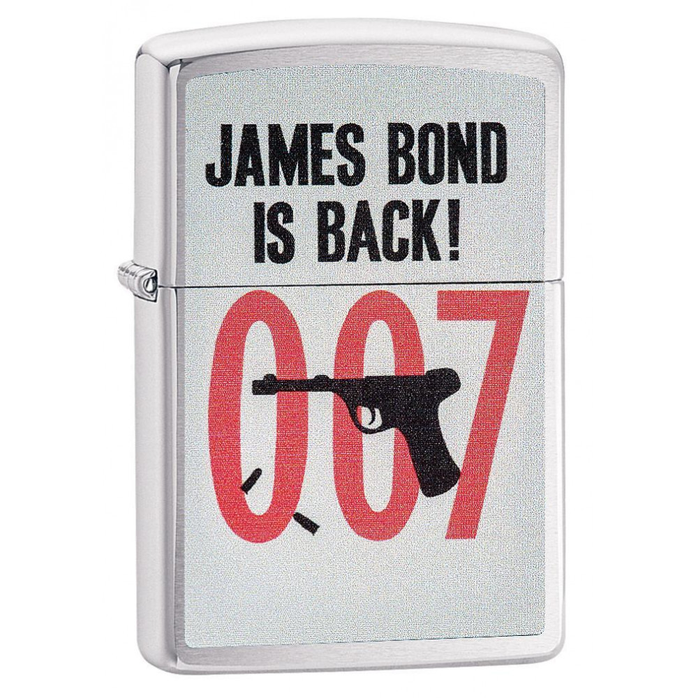 Зажигалка ZIPPO James Bond 007 с покрытием Brushed Chrome, латунь/сталь, серебристая, 36x12x56 мм зажигалка zippo james bond с покрытием high polish chrome латунь сталь серебристая 36x12x56 мм
