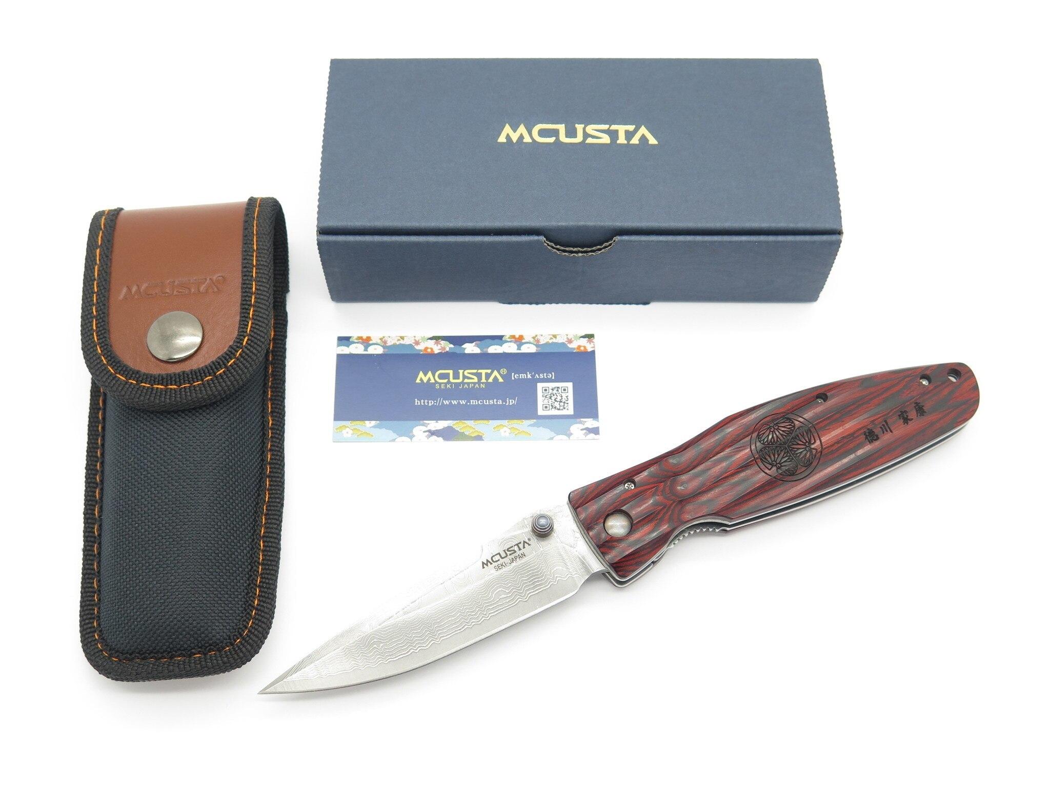 Фото 11 - Складной нож Mcusta Tokugawa Ieyasu MC-183D, сталь VG-10 в обкладах из дамаска, рукоять древесный пластик