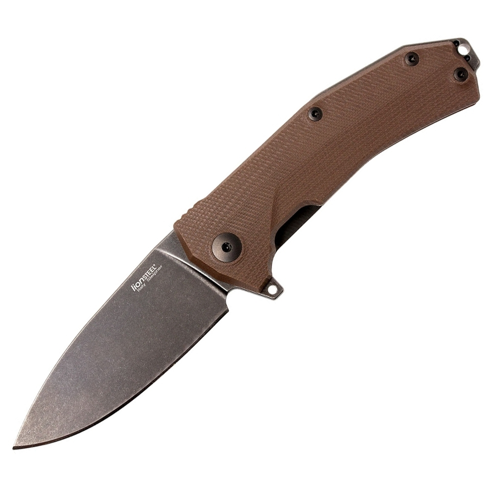 Нож складной LionSteel KUR BBR G10 Brown Flipper, сталь Stonewashed & PVD-Coated Uddeholm Sleipner®, стеклотекстолит, коричневый от Lion Steel