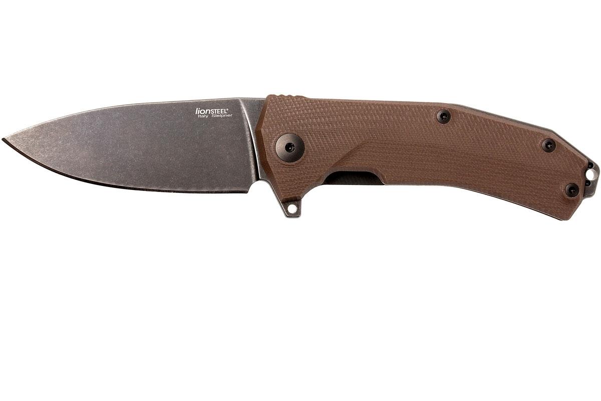 Фото 4 - Нож складной LionSteel KUR BBR G10 Brown Flipper, сталь Stonewashed & PVD-Coated Uddeholm Sleipner®, стеклотекстолит, коричневый от Lion Steel