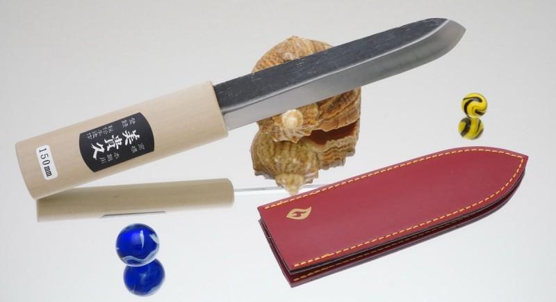 Нож Makiri черный 150 mm, кожаные ножны