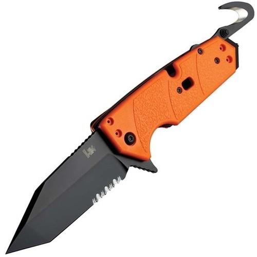 Складной нож Hogue Elishewitz Karma Tanto, клинок черный, сталь 154CM, рукоять оранжевый G10