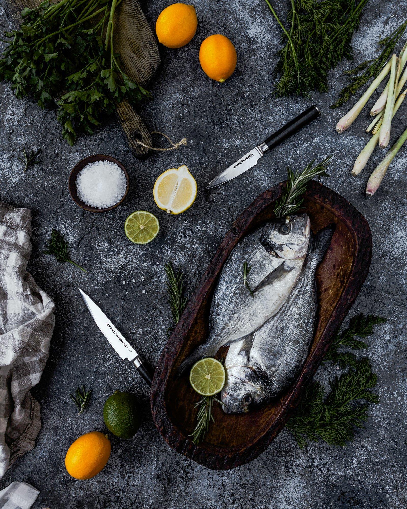 Фото 3 - Нож кухонный овощной Samura Damascus SD-0010/Y, сталь VG-10/дамаск, рукоять G-10
