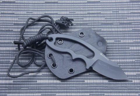 Нож с фиксированным клинком Hogue EX-F03 Neck Knife, сталь 154CM Black Ceracote, рукоять нержавеющая сталь