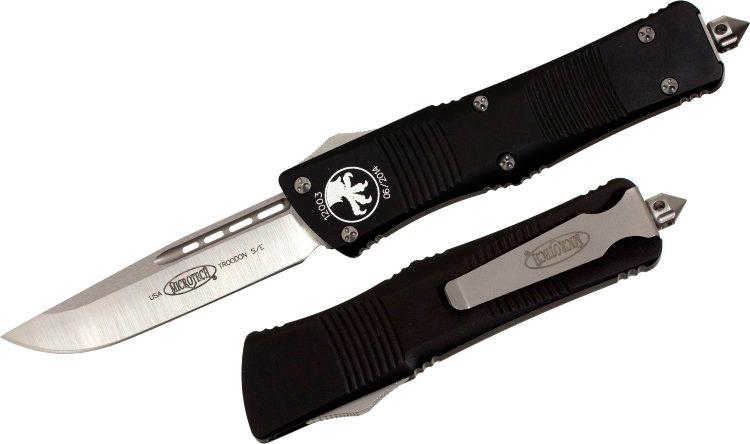 Фото 4 - Автоматический фронтальный выкидной нож Troodon - Microtech 139-4 Black, сталь M390, рукоять алюминий