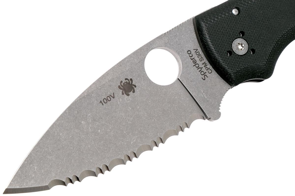 Фото 7 - Складной нож Spyderco Shaman 229GS, сталь CPM® S30V™ Stonewash Serrated, рукоять стеклотекстолит G10, чёрный