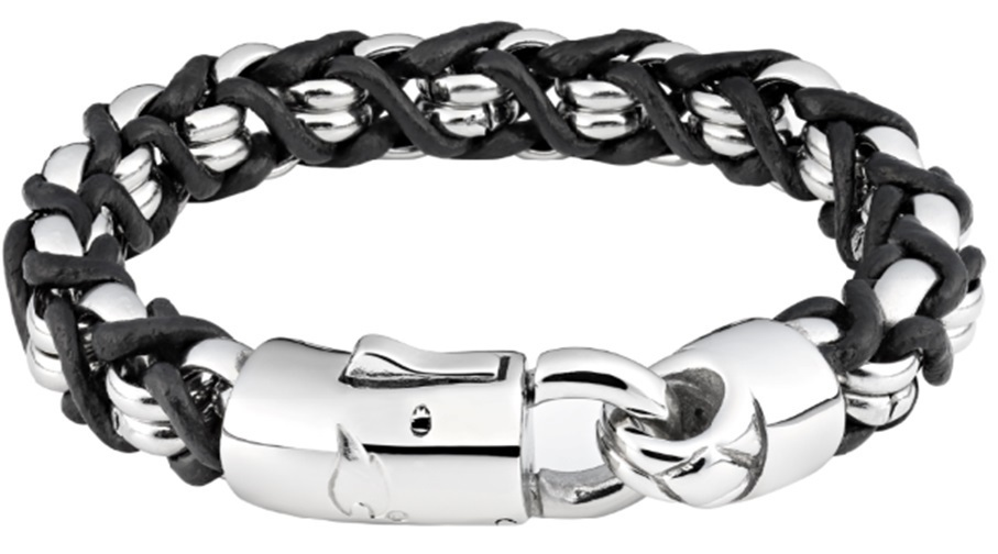 Фото - Браслет ZIPPO, чёрно-серебристый, нержавеющая сталь/натуральная кожа, 18x1,1x1 см браслет содалит биж сплав сталь хир 18 см 3 см