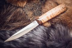 Якутский средний нож, карельская береза