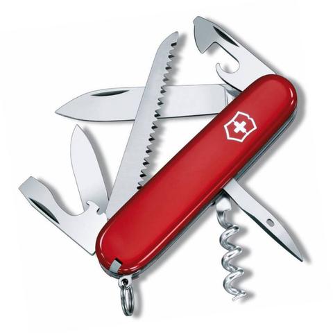 Нож швейцарский Victorinox Camper, сталь X55CrMo14, рукоять Cellidor®, красный. Вид 1