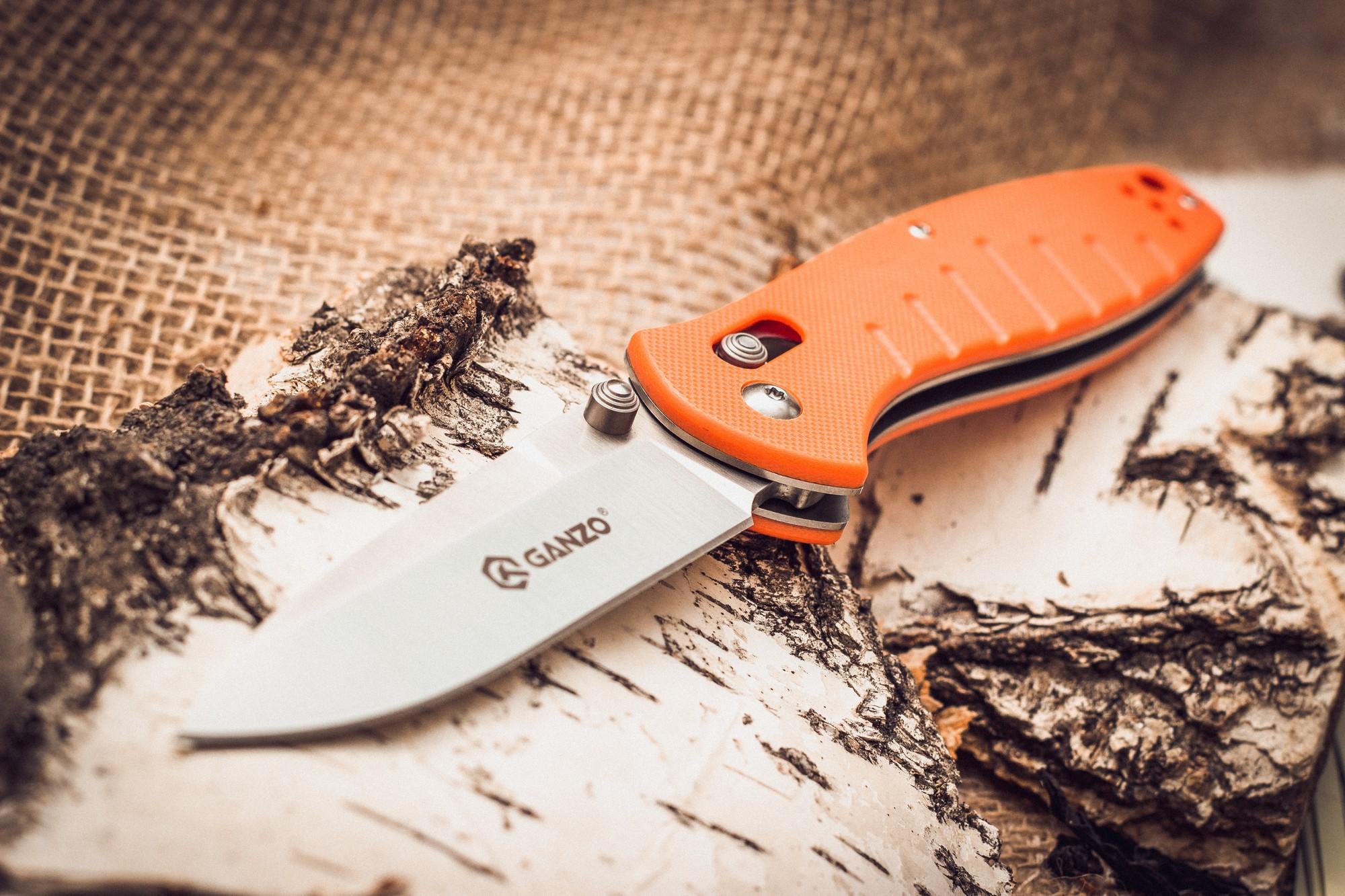 Фото 5 - Складной нож Ganzo G738, оранжевый