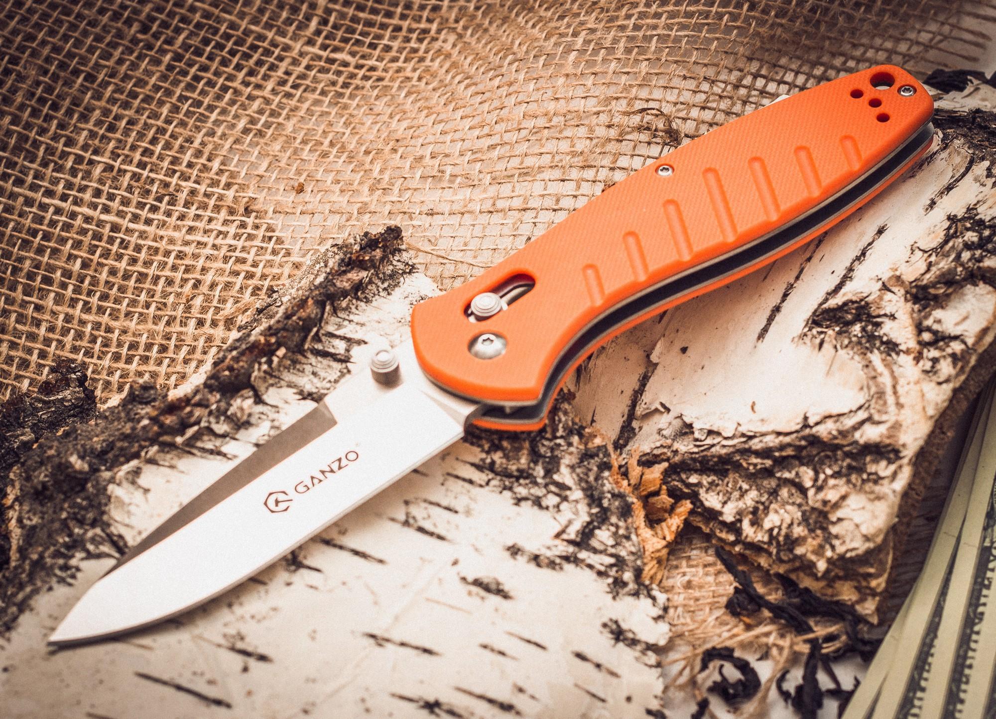 Фото 6 - Складной нож Ganzo G738, оранжевый