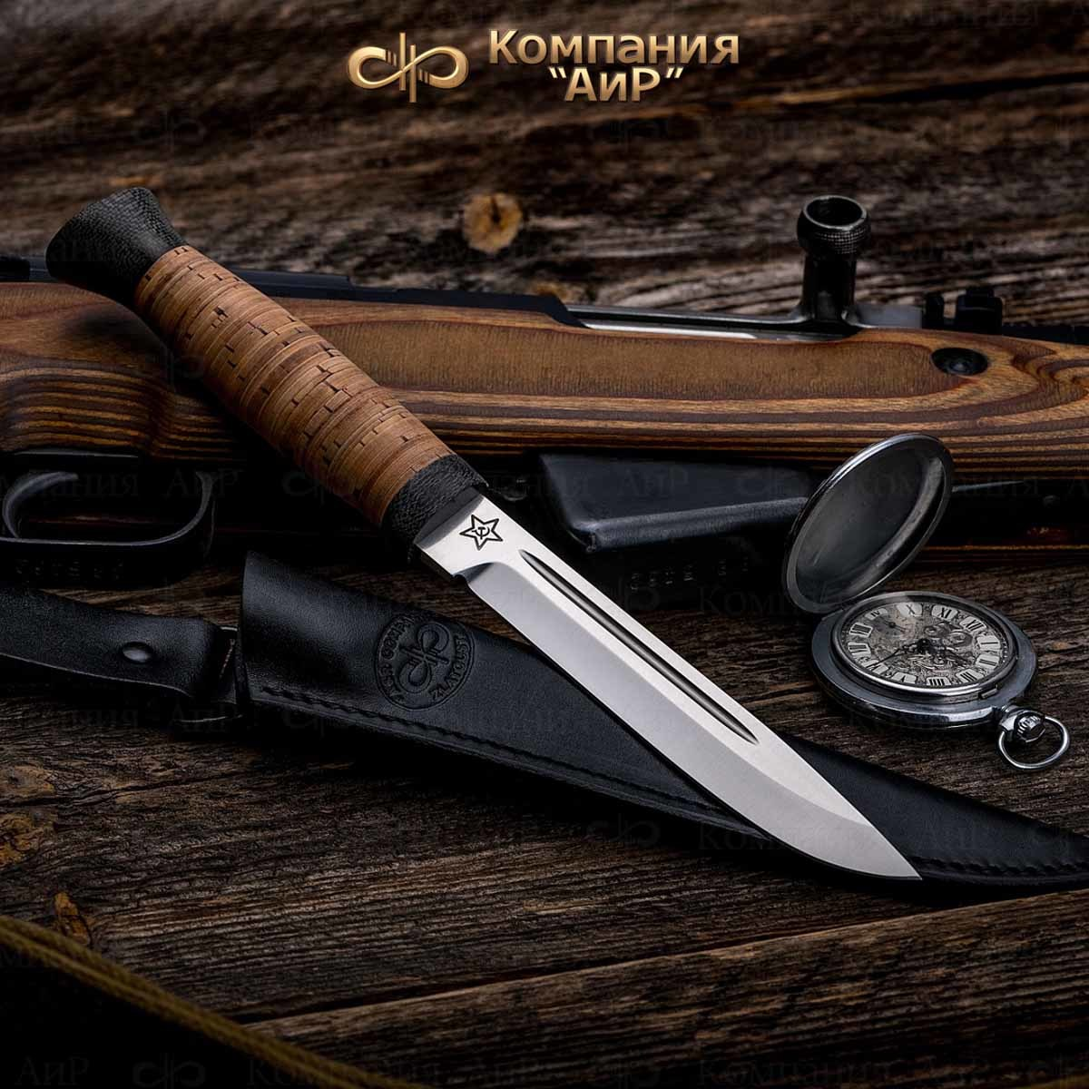 Нож разделочный АиР Финка-3, сталь Elmax, рукоять береста